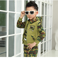 Boys Clothes With Hooded  Zipper Army Green Kids Clothing Sets