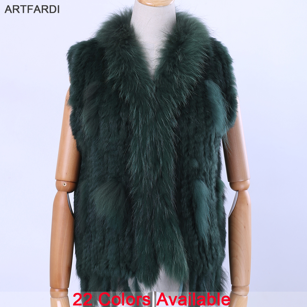2019 New Women's Lady Genuine Real Knitted Rabbit Fur Vests Tassels Raccoon Fur Trimming Collar Waistcoat Fur Sleeveless Gilet