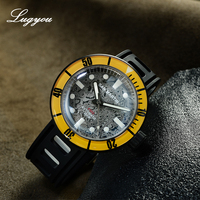 LUGYOU San Martin Automatic Diver Watch Damascus Steel Sapphire Rotating Bezel 100 meters Water Resistant ETA2824 Diving Rubber