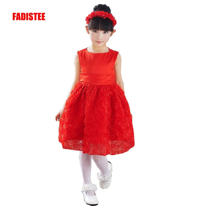 FADISTEE New Arrival Pretty   Flower     Girl     Dresses   appliques lace Baby   Girl     Dress   with knee length sweet style   dresses   2019