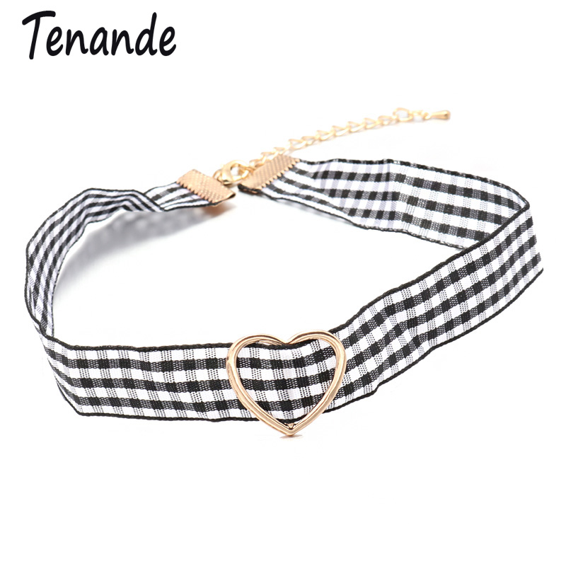 Tenande Vintage Maxi Gold Color Cloth Big Love Hearts Choker Necklaces for Women Simple Style Palace Tattoo Jewelry Party Gifts