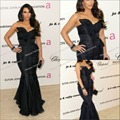 Sexy chiffion sleeveless kim kardashian navy evening gown with a mermaid silhouette red carpet dress Celebrity Dresses