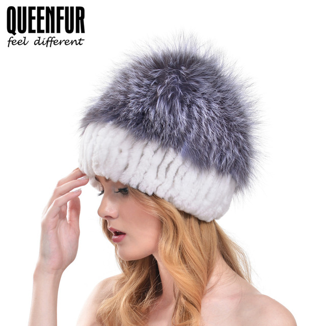 f60483a1db6 QUEENFUR Real Knitted Rex Rabbit Fur Hat With Silver Fox Fur Poms Pom Cap  Winter Elasticity Nautral Rabbit Fur Beanies Hot Sales