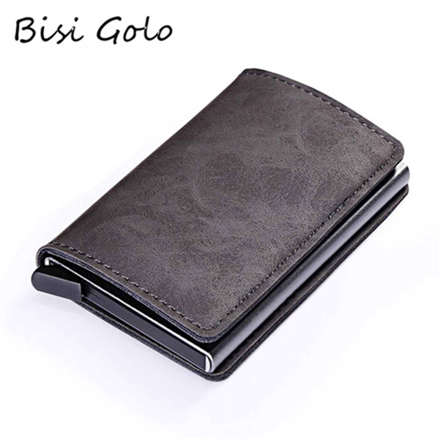 BISI GORO New PU Leather Metal Single Box Credit Card Holder Card Case Women And Men RFID Wallets Vintage Business ID Holder
