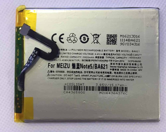 BA621 For meilan note5  M5 Meizy Note 5 cellphone Battery hfy 3.8V 3920mAh