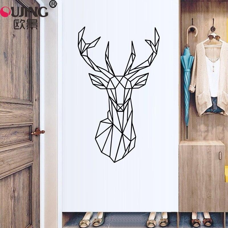 3D геометрическая линия голова оленя резная Настенная Наклейка гостиная гардероб холодильник украшение для дома Художественный постер вин...