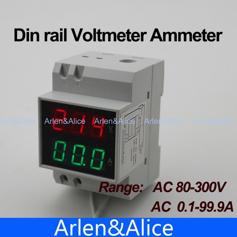 1 шт. din-рейку двойной светодиодный дисплей Напряжение и измеритель тока din-рейку Вольтметр Амперметр диапазон AC 80-300 В 0.1-99.9A