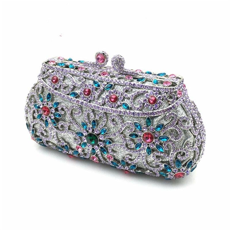 Neue Ankunft frauen Kupplung Geldbörse Silber Kristall Abend Tasche Frauen Hochzeit Diamantes Party Braut Handtasche Dame Umhängetasche A144-in Kupplungen aus Gepäck & Taschen bei  Gruppe 3