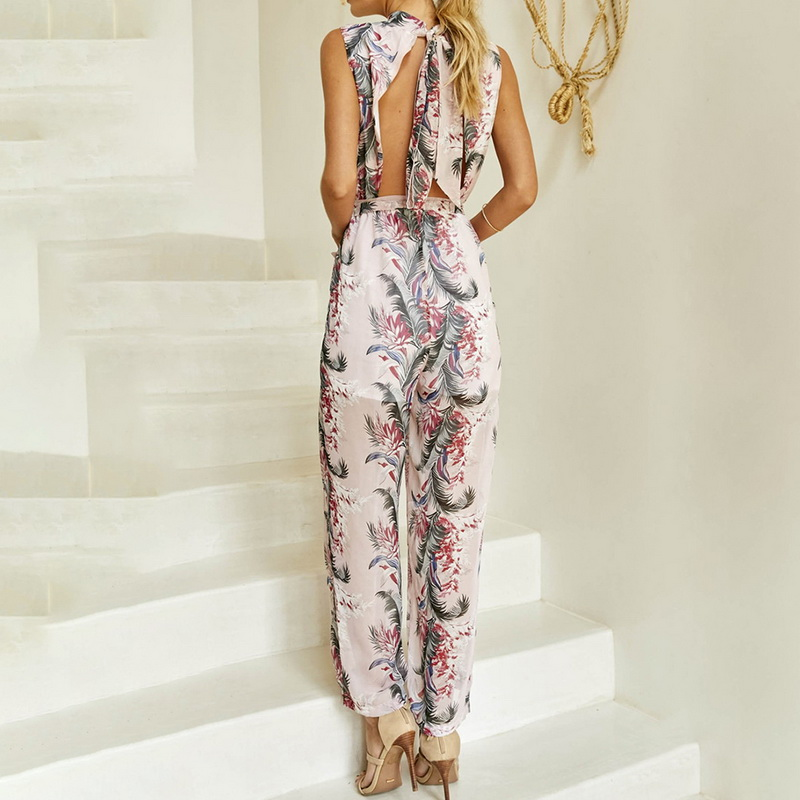 CALOFE Printed Floral Bodysuits Women Summer Fashion New Wide Leg Chiffon Jumpsuits For Lady Female Sleeveless Elegant Playsuits