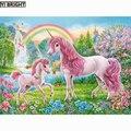 Алмазная 5D картина «сделай сам», вышивка крестиком, 2019 Алмазная вышивка, розовые единороги и радуга, вышивка, картины Стразы, KBL