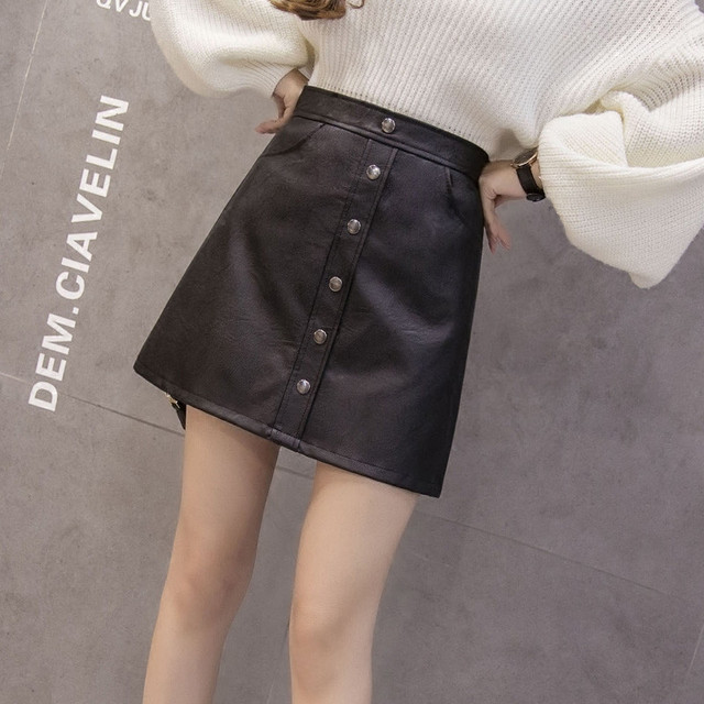 0ec844284b high waist faux leather skirt Sexy streetwear black skirt Autumn Winter elegant  PU party brown mini
