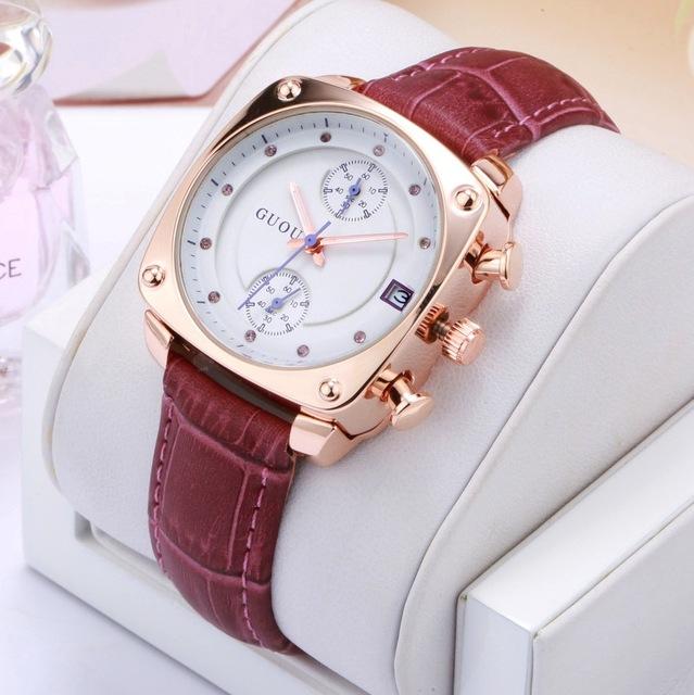 2018 Fashion Guou Brand Watch Luxury Crystal Rose Gold Women Genuine Leather Ladies Auto Date Lady Hour Clock Relogio Feminino