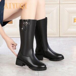 Image 5 - AIYUQI kobiety wełniane śniegowce 2020 kobiet prawdziwej skóry kobiet zimowe buty zimowe duże rozmiary 41 42 kobiet rycerz buty buty