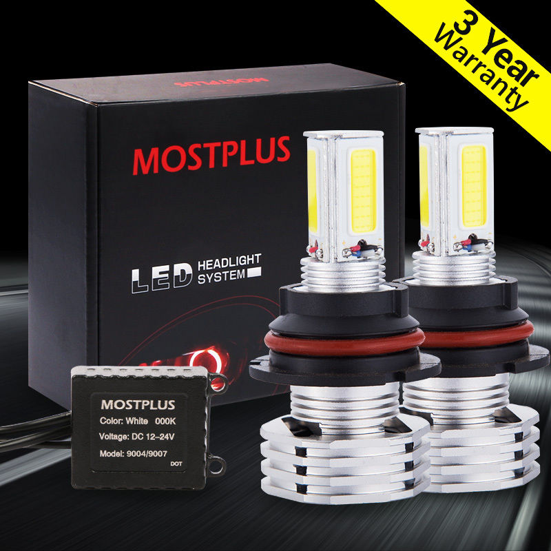ФОТО MOSTPLUS 90W 9000LM LED headlight Kit 9007 HB5 Hi & low beams 6000K HID White Pair bulbs