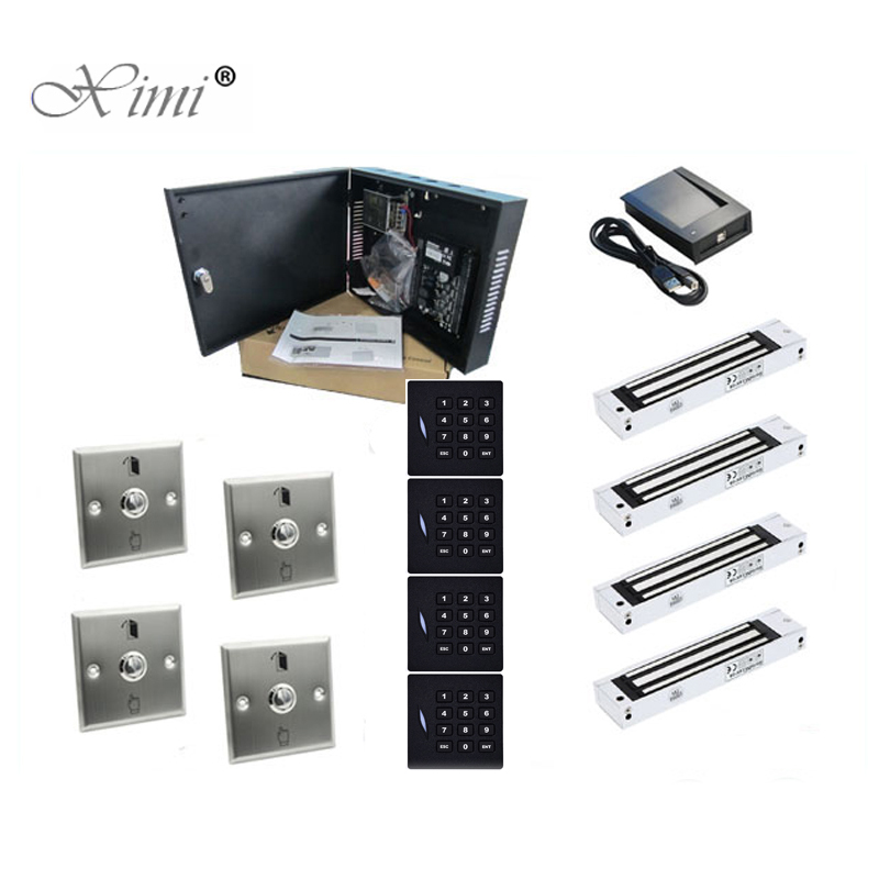 ZK C3-400 Door Access Control Panel With KR102E Card Reader Wiegand, Metal Exit Button And EM Lock 4 Doors Access Control Panel