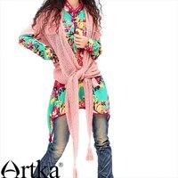 Artka Women S Bohemian Skin Friendly Cotton Print Loose Medium Long Stand Collar Lantern Sleeve Elegant