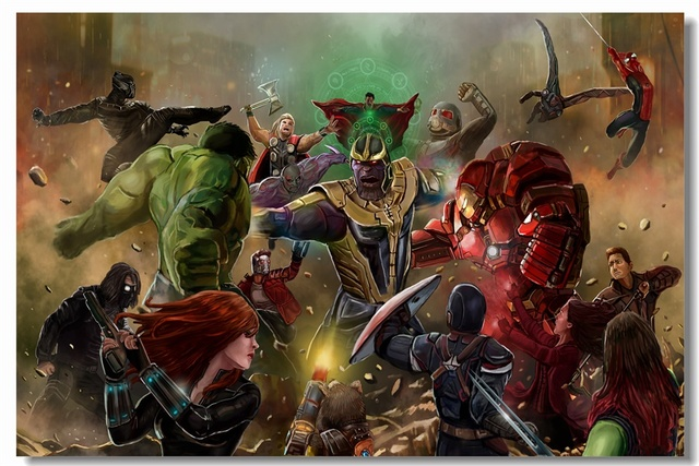Custom Canvas Wall Art Marvel Universe Superheroes Wallpaper