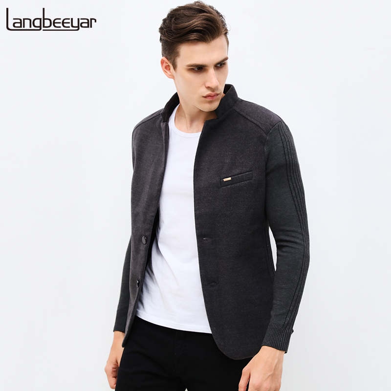 2018 New Autumn Winter Fashion Unique Mens Blazer Jacket Woolen Casual Blazer Slim Fit Patchwork Sleeve Men Suit Jacket