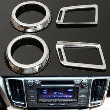 4Pcs Chrome Car Internal Dashboard Air Vent Cover Trim for Toyota Rav4 2013 2014 2015 2017