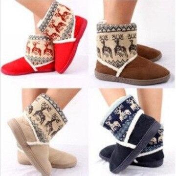 พิเศษ! คริสต์มาสหิมะรองเท้าอุ่นฤดูหนาวสำหรับผู้หญิง Christmas fawn รูปแบบน่ารักฝ้ายรอบหัวรองเท้าหญิง