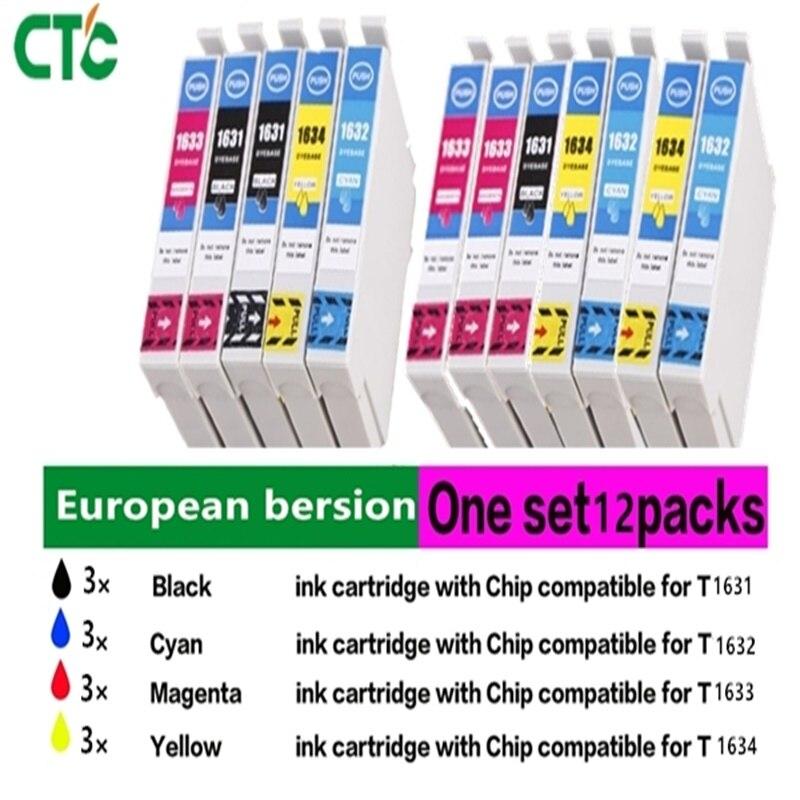 12 PK T1631 -T1634 ink cartridge Compatible for Workforce WF-2010W WF-2510WF WF-2520 WF-2530WF WF-2540 printer
