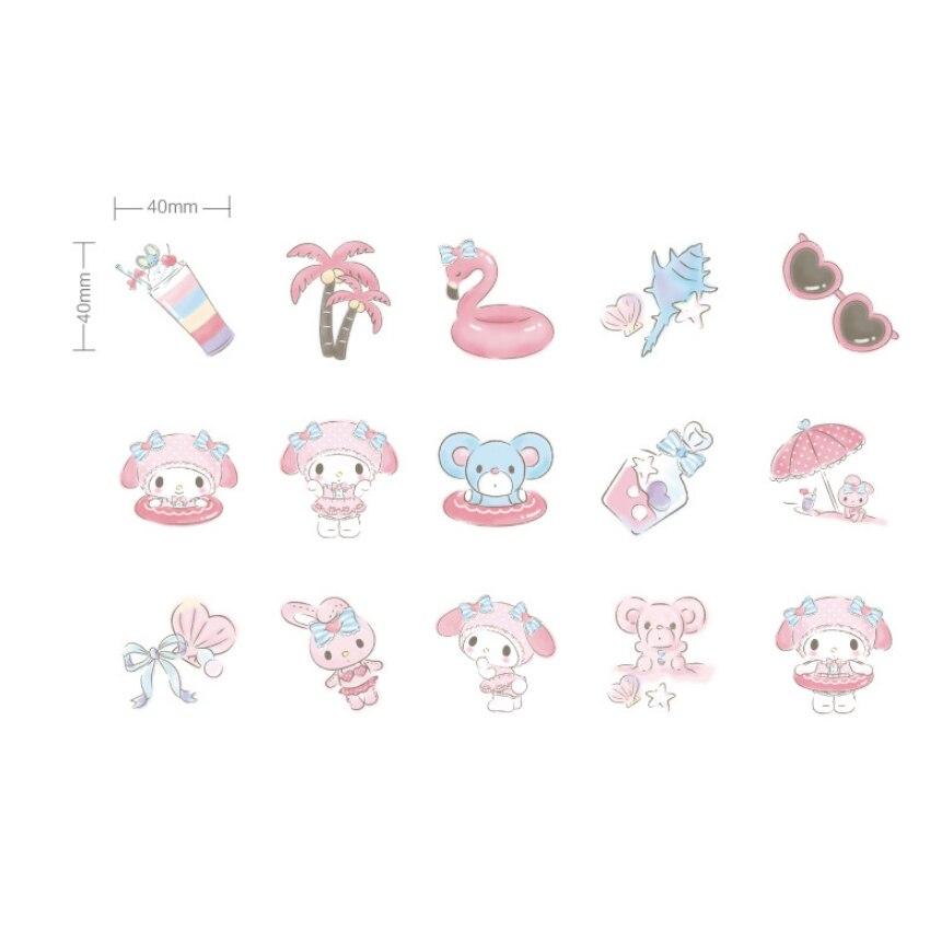 Купить с кэшбэком 45Pcs/box Lovely Seaside Holiday Mini paper sticker DIY Diary Scrapbooking Decorative Stickers Stationery