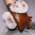 Women Genuine Rex Fur Gloves Real Leather Autumn Winter Accessories Adult Female Solid Leather Gloves Warm Fur Mittens Gloves