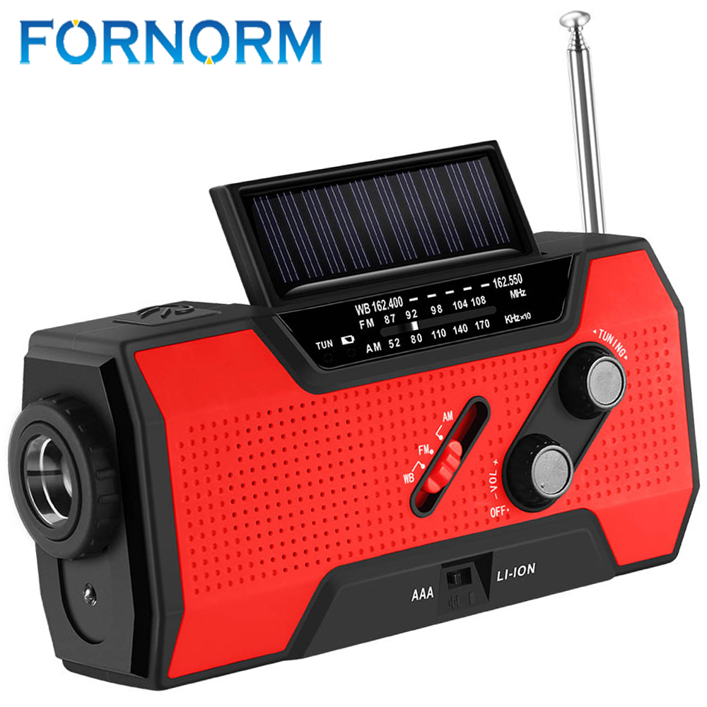 FORNORM Hand Crank Solar 3AAA Battery NOAA Charger Power Bank 4-LED Light Emergency icoco 3 in 1 emergency charger flashlight hand crank generator wind up solar dynamo powered fm am radio charger led flashlight