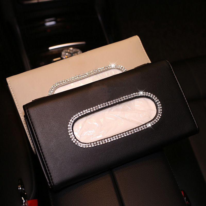 Rhinestones Crystal Car Tissue Box For Sun Visor PU Leather Hanging Auto Tissue Bag Holder Sunshade Case Diamond Car Accessories