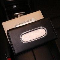 Caja de cristal de imitación para visera de coche, accesorios de cuero PU para colgar en el parasol del coche