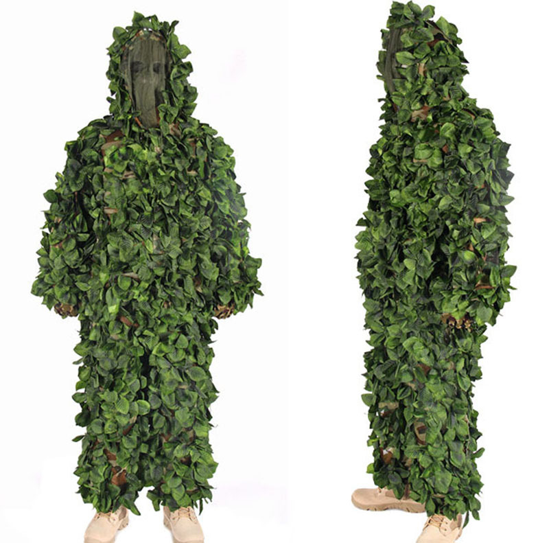 3D Jungle Camo Ghillie Suit Camouflage Hunting clothing SNIPER Tactical Camouflage Suit Bionic training suit Paintball Airsoft military camouflage ghillie suit woodland grass hay style paintball leaf jungle sniper clothes hunting tactical shade clothing