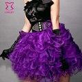 Verano Más Tamaño Púrpura de Organza En Capas Tutu Falda Mujeres Burlesque Atractivo Del Club Faldas Lolita Rockabilly Petticoat Saias Femininas