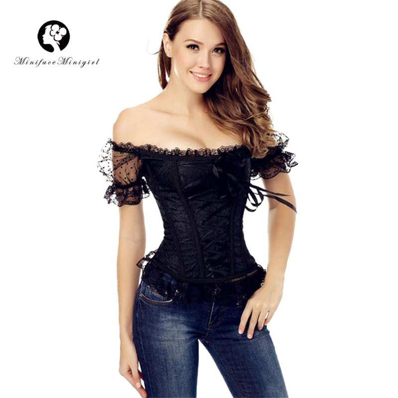 Women Lace Up White Black Waist Trainer   Corset   Sexy Boned   Bustier   Top with Sleeve Overbust Steampunk   Corset