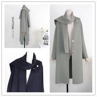 세련된 한국 충실도 100% 양면 양모 손 놓은 겨울 따뜻한 코트 16 새로운 겨울 무료 스카프 무료 브로치 무료 배송 063