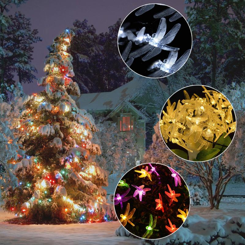 Elegant Solar Power Fairy String Lights 4.8M 20 LED Colorful Flower Dragonfly  Decorative Garden Lawn Patio Christmas Trees Wedding Party