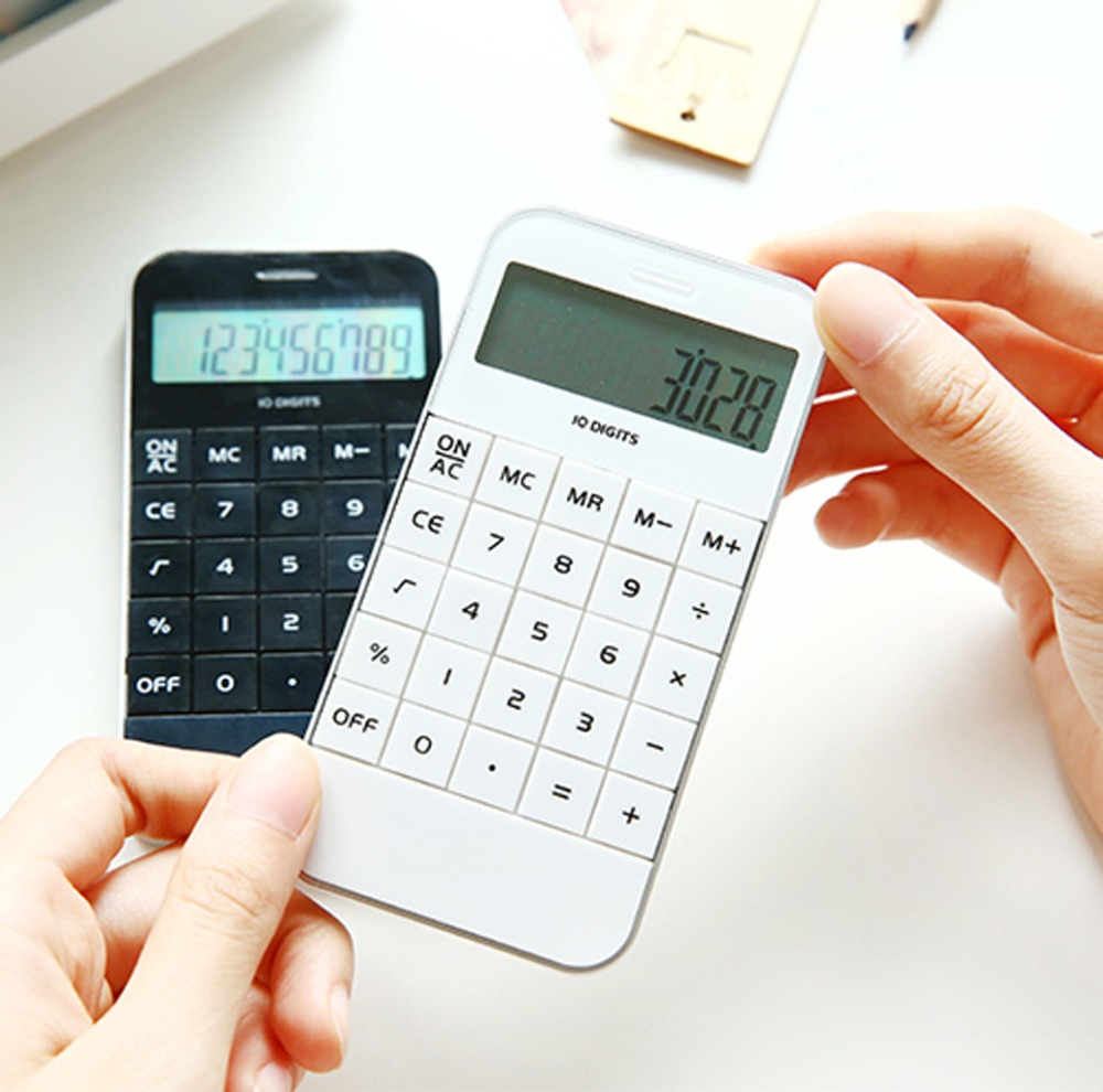 Portable Home Calculator LCD Display Pocket Electronic Calculating Office School Calculator 11.5x5.9x1.0cm