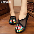 Summer Chinese Style Vintage Women Gauze Cotton Flower Embroidery Shoes Ladies Casual Slip on Flats Zapatos Mujer Big Size 34-41