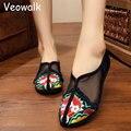 Verão Estilo Chinês Do Vintage Das Mulheres Sapatos Bordados de Flores de Gaze de Algodão Ladies Casual Slip on Flats Zapatos Mujer Big Tamanho 34-41