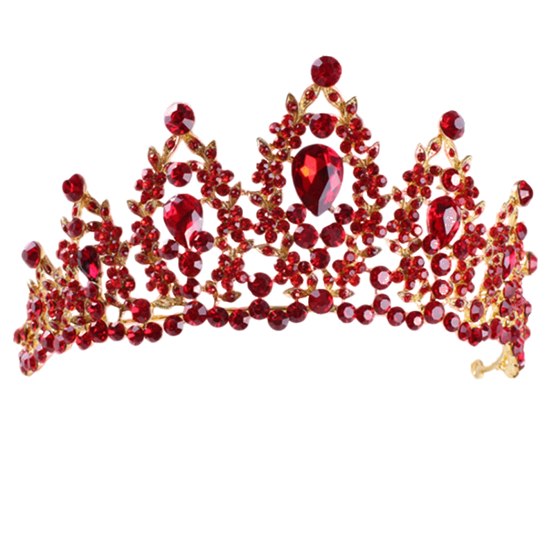 Red Pageant Wedding Crystal Tiaras And Crowns Bridal Rhinestone Tiaras Crowns Hair Jewelry Women girls Hairband