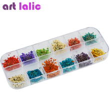 New Hot 36pcs 12 Colors Real Dry Dried Flowers Nail Art Decoration DIY Tips Free Shipping