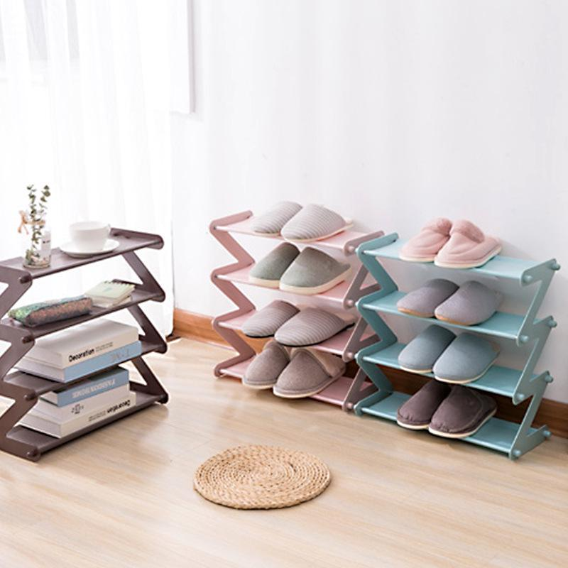 Nordic Style MultiLayer Stainless Steel Assembly Shoe Rack Multi-function Household Fashion Bookshelf Living Room Organizer