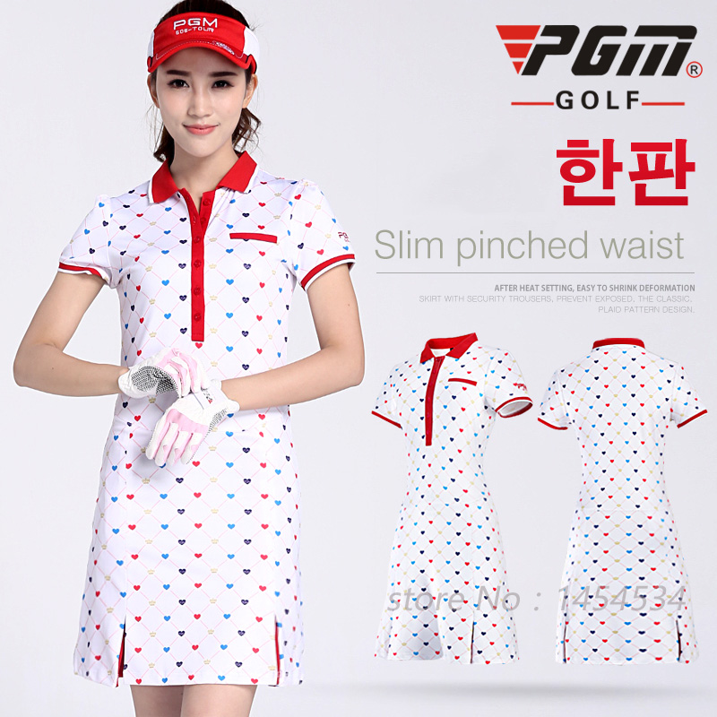 New Arrival !PGM Clothing Women Golf Printing Dress S-XL Fitness Lady Tennis Slim Sportswear White Moisture Wicking Dress 2017 b slim women s ruched front shapewear jersey dress xl aqua blue