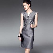 8a63641449 2018 New Women Business Work Wear Dresses Sleeveless V-neck High Waist  Ladies Elegant Slim Bodycon Summer Office Dress Clothes