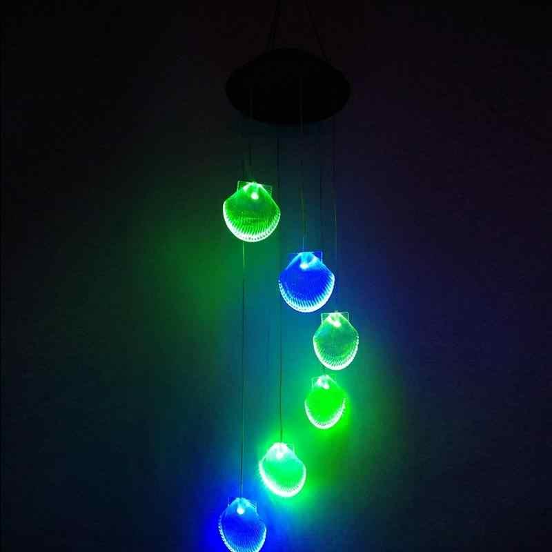 LanLan солнечный Мощность Wind Chime светодио дный светодиодный сад висит Spinner Лампа двор Цвет Изменение