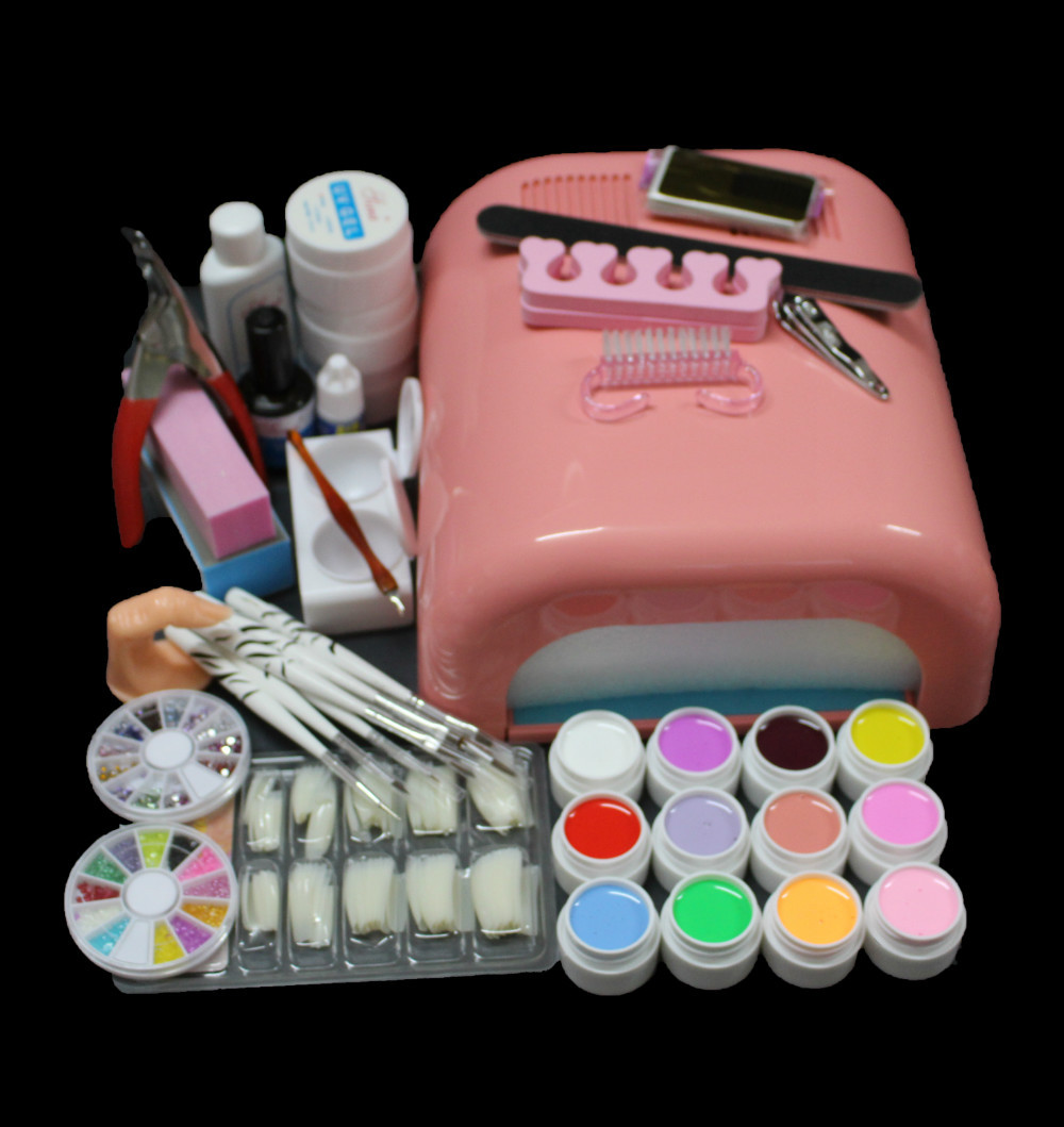 EM-90 Pro Full 36W White Cure Lamp Dryer & 12 Color UV Gel Nail Art Tools Sets Kits 2017 hot pro full 36w white cure lamp dryer 12 color uv gel nail art tools set kit