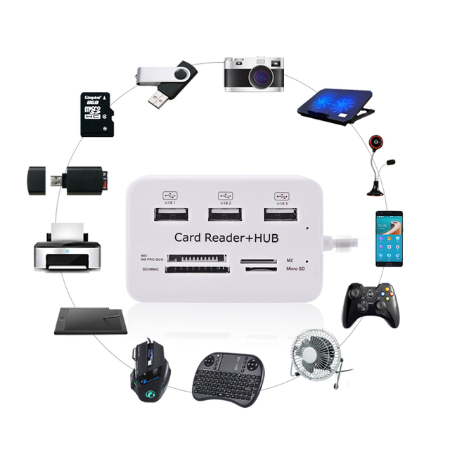 Micro USB Hub 3.0 Combo 3 Ports Card Reader High Speed USB Splitter All In One USB 3.0 Hub or PC Computer Accessories Notebook 3