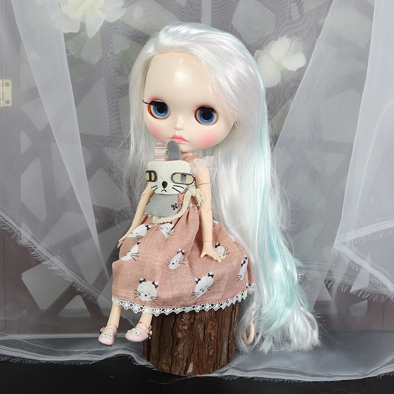 ICY factory blyth doll 1 6 bjd white skin joint body white mix blue hair new