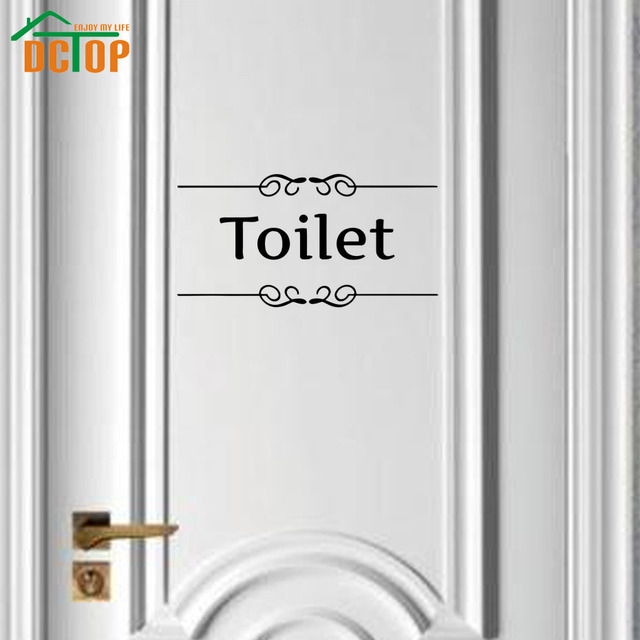 Beau DCTOP Sign Of Toilet Wall Stickers Words Art Design Vinyl Adhesive Door  Sticker For Bathroom Wall