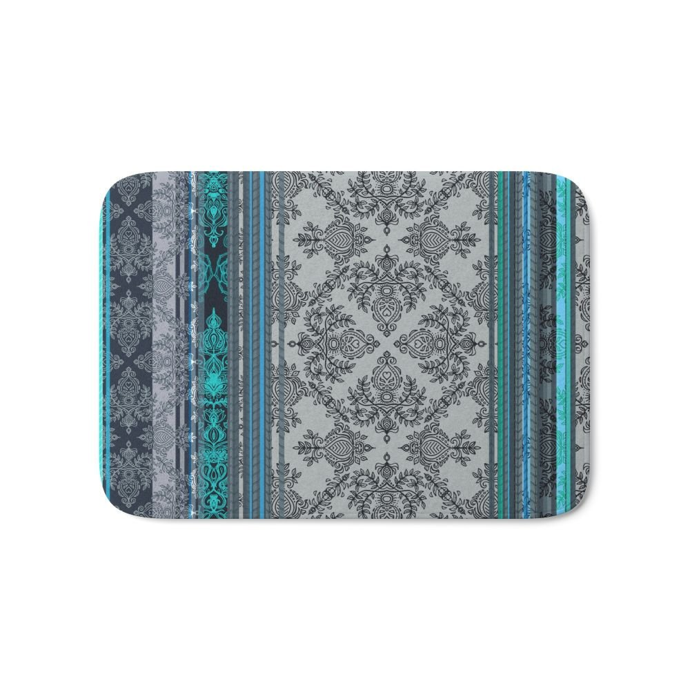 Teal Aqua & Grey Vintage Bohemian Wallpaper Stripes Bath