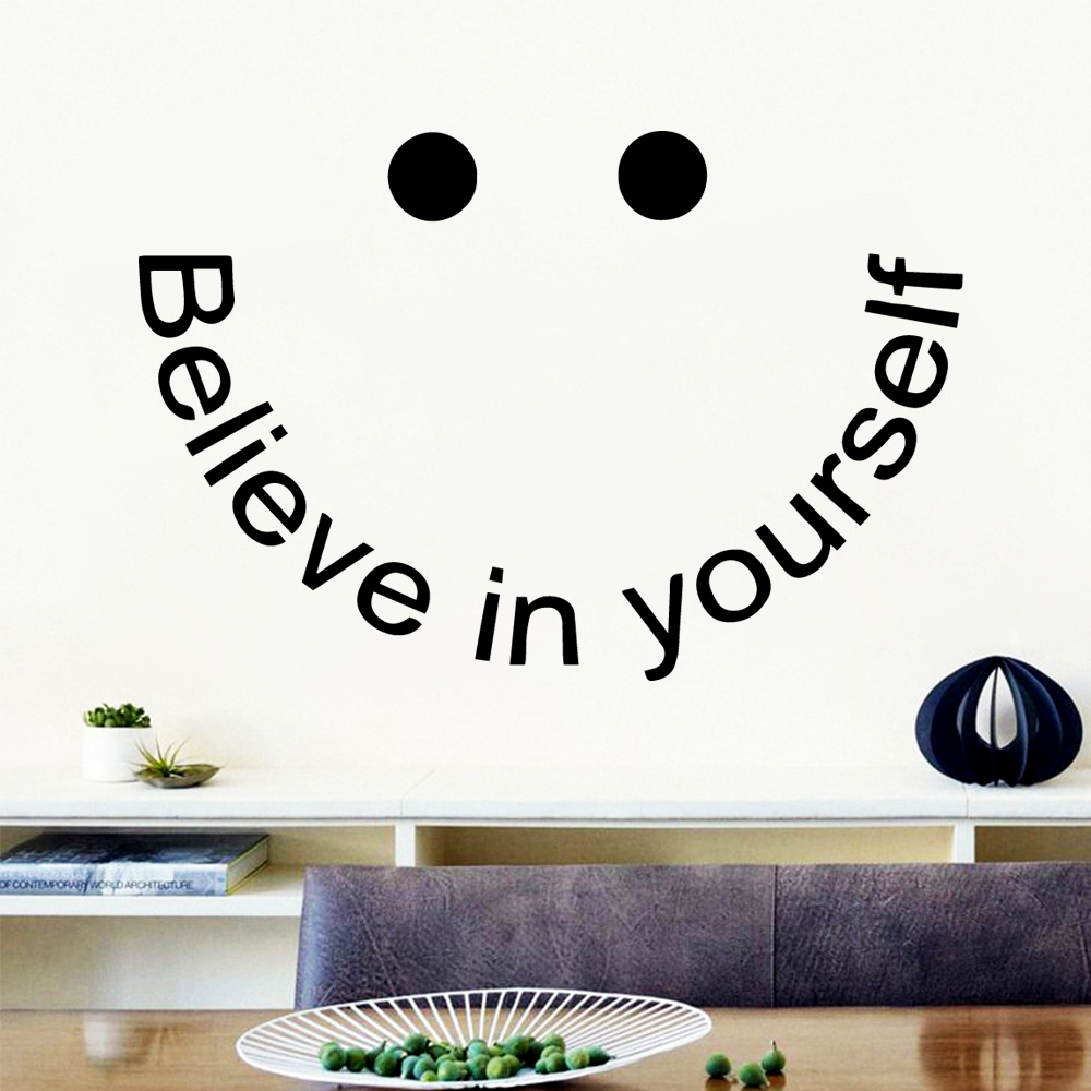 Creative believe in yourself Wall Sticker Removable Self Adhesive Watercolo For Childrens Room Mural Poster muursticker